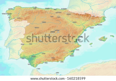 a map showing the topography of Spain. largest towns, rivers, and provinces are labeled. Terrain shading derived from NASA data. Full resolution gives approximately 1:1.600.000 scale. - stock photo