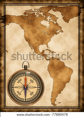 A map with a compass North and South America on the old background - stock photo