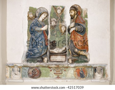 A marble relief of nativity - sixteenth century - Renaissance - Italy - Sicily - stock photo