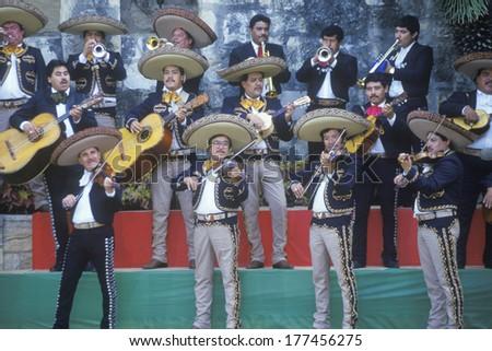 A mariachi band performs for the Clinton/Gore 1992 campaign, San Antonio, TX - stock photo