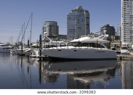 A marina in Yaletown, Vancouver, BC, Canada. - stock photo