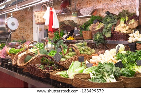 A marketplace where vegetables are sold . on a market in Barcelona - stock photo