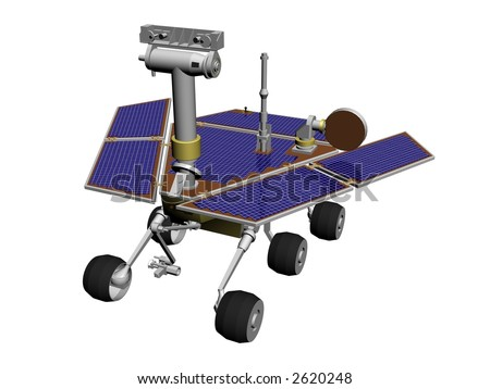 A (mars) rover to explore extraterrestrial planets, with solar cells - stock photo