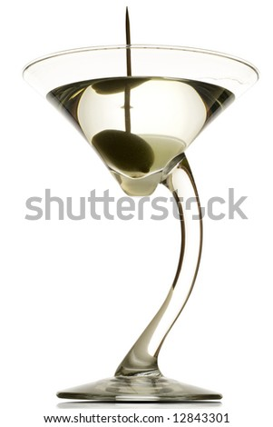 a martini glass with the drink and an olive in it (dirty) - on white - clipping path included - stock photo