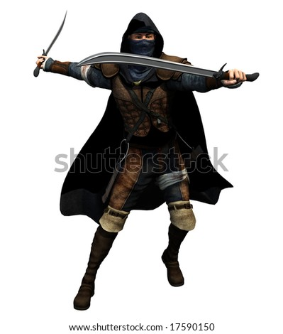 A masked fighter draws twin swords and attacks... - stock photo
