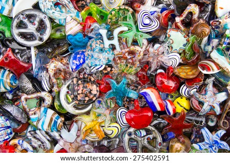 A mass of fun colorful glass beads for crafters or wholesalers.   - stock photo