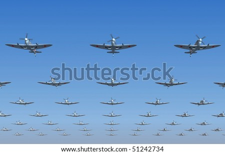 A massed formation of soviet version of Spitfire fighters flying overhead. 3d illustration - stock photo