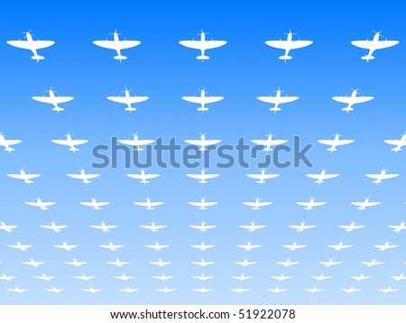 A massed formation of Spitfire Supermarine WWII fighters flying overhead. 3d illustration - stock photo