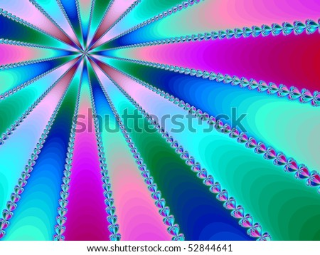 A massive striped fractal in shades of pink, red, purple, blue and green. - stock photo