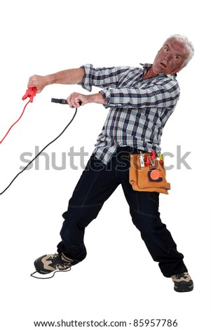 A mature burned electrician. - stock photo