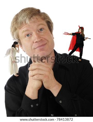 A mature man delightedly listening to an angel on one shoulder while a she-devil is preparing to spear him with her pitchfork on the other.  Isolated on white. - stock photo