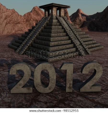 a Mayan Pyramid with a lettering of 2012 - stock photo