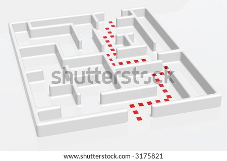 A maze with doted right way. - stock photo
