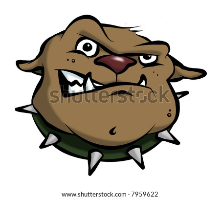 A mean-looking cartoon bulldog. - stock photo