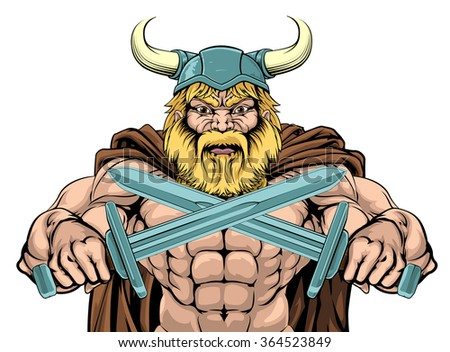 A mean looking Viking Warrior sports mascot holding two swords - stock photo