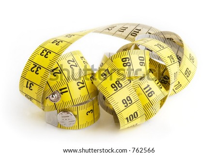 A measuring tape on a white background