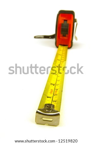a measuring tape on white background - stock photo