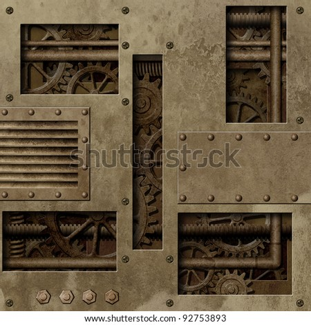A Mechanical Industrial Background with Gears and Pipes - stock photo