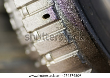 a mechanical robot moves filming closeup industry - stock photo
