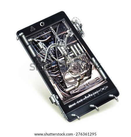 A mechanical Smart-phone with various technical components - stock photo
