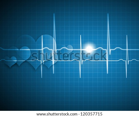 A medical background with a heart beat / pulse with a heart rate monitor symbol - stock photo