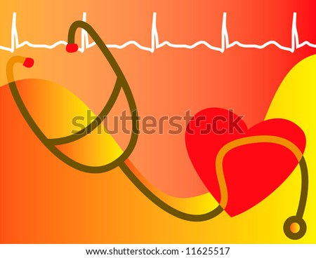 A medical heart healthy scene is depicted in abstraction - stock photo