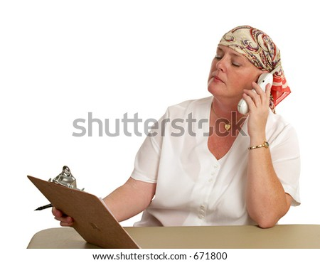 A medical patient returning to work after chemotherapy. - stock photo