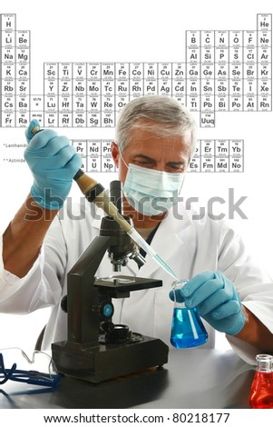 "a medical research scientist or chemist works in his laboratory with the table of ""periodic chemical elements"" aka ""periodic table"" with room for your text - stock photo"