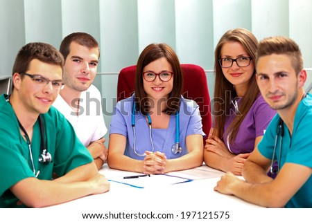 A medical team meeting in the hospital - stock photo