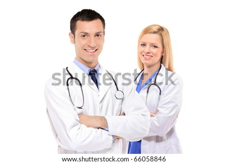 A medical team of doctors, man and woman, isolated on white background - stock photo