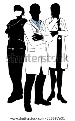 A medical team of doctors or surgeons with white coats and scrubs, surgical masks and stethoscopes in silhouette - stock photo