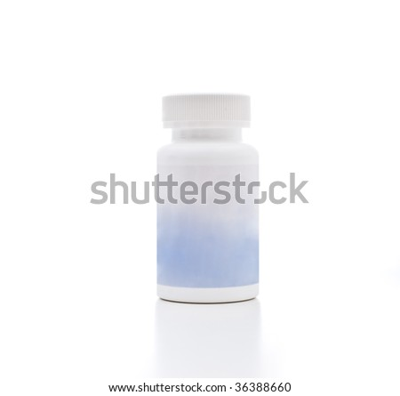 A medicine bottle, photographed in the studio. - stock photo