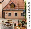 A medieval building in the old city of Riga - capital of Latvian Republic, Europe - stock photo