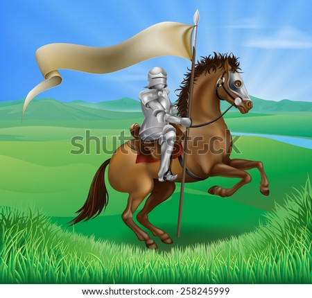 A medieval knight in armor riding on horseback on a brown horse holding a flag or banner in green field of grass - stock photo