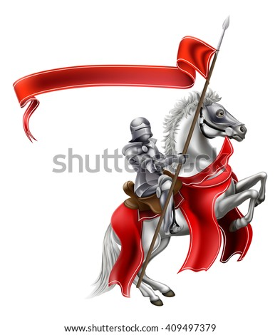 A medieval knight in shining armour on the back of a rearing white horse holding a red banner - stock photo