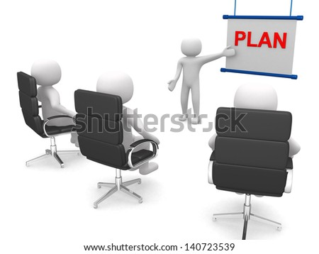 A meeting with people in a presentation - 3d render - stock photo