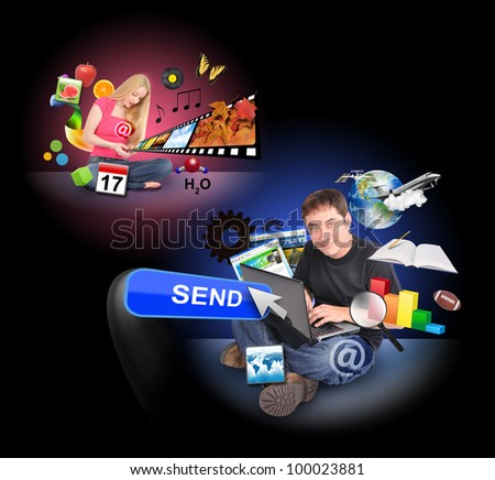 A men and a women are sitting on a black background and holding a laptop and smart phone with technology icons around them. - stock photo