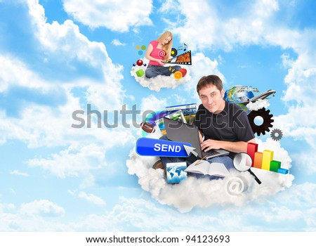A men and a women are sitting on clouds and holding a laptop and smart phone with technology icons around them. - stock photo