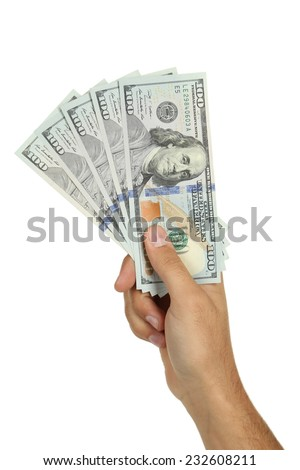 A Men hand holding hundred dollar bill on white background - stock photo