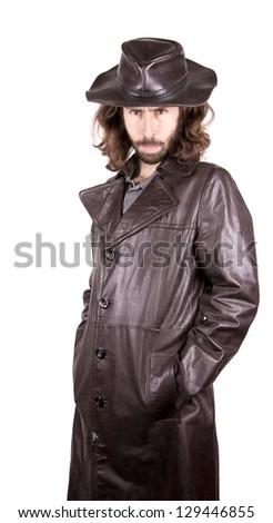 a men in the waterproof - stock photo