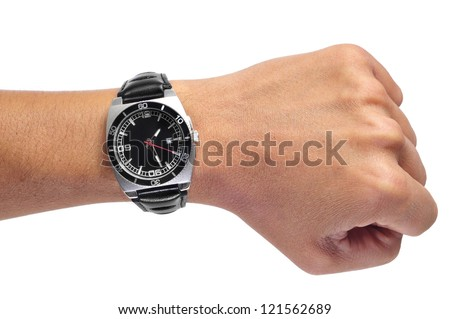 a men wearing a black watch with black leather strap over a white background - stock photo