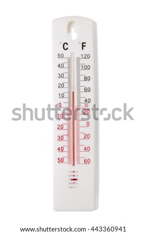 A mercury thermometer for measuring room temperature isolated on a white background