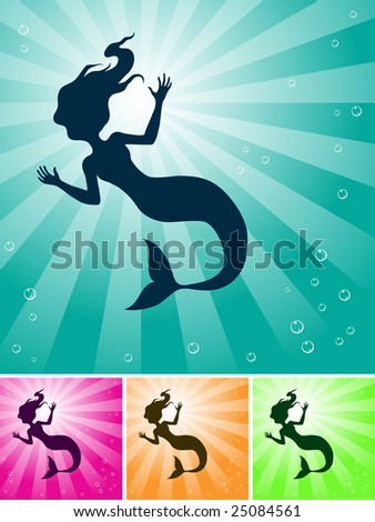 a mermaid under the ocean with light coming from they sky - stock photo