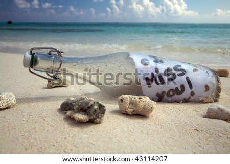 A message in a bottle! - stock photo