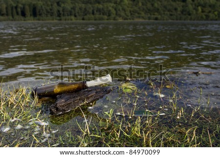 a message in glass bottle on driftwood washed ashore from island forest - stock photo