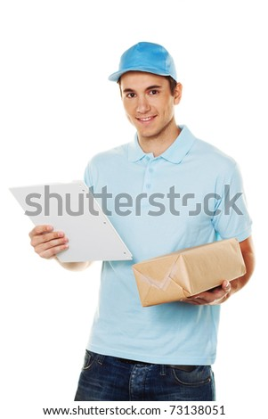 A messenger delivered by courier parcel. Shipping and logistics. - stock photo