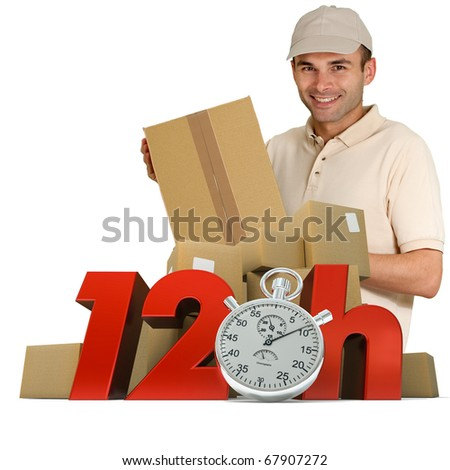 A messenger delivering a parcel with 12hrs and a chronometer - stock photo