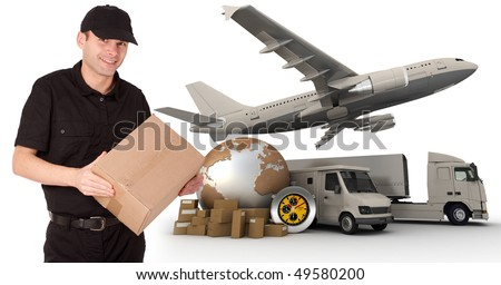 A messenger holding a package with a world map, packages, a chronometer,  a van, a truck and an airplane as background - stock photo