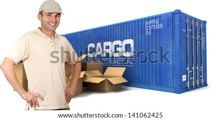 A  messenger with a cargo container and boxes on the background - stock photo