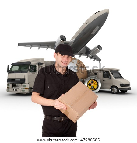 A messenger with a world map, packages, a chronometer,  a van, a truck and an airplane as background - stock photo